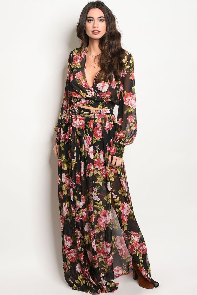 b8a74135281 Sexy Boho Chic V neck Long sleeve Top   Maxi Skirt 2pc Set Black Floral  Chiffon  cc  MaxiDress