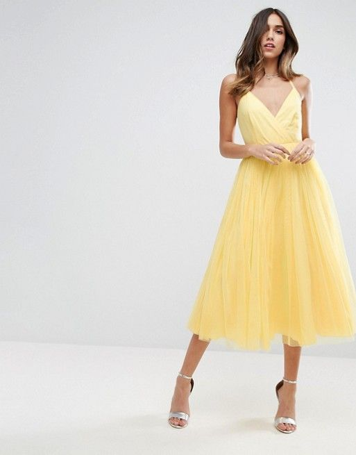 Pinny Extreme Tulle Mesh Midi Dress