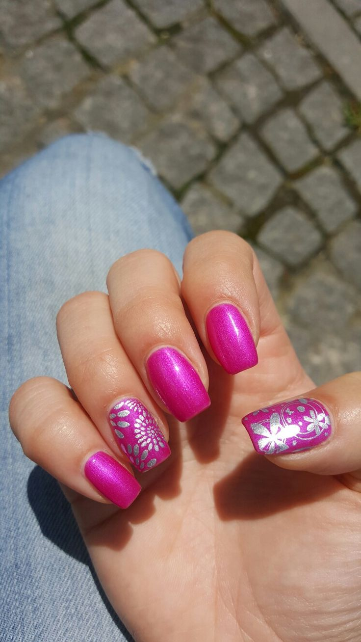 Pink & silver nails