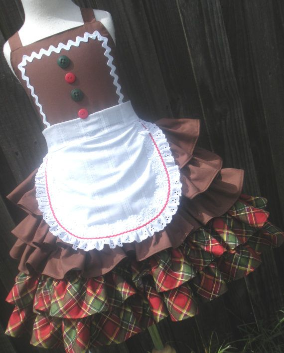 Custom Boutique Gingerbread Girl Ruffle Dress by hottotscoolkids2