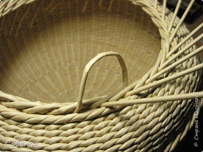 Поделка изделие Плетение Корзина и шкатулки Бумага газетная Трубочки бумажные фото 9