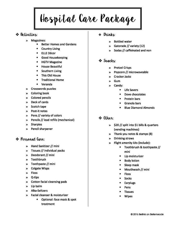 7.15.16 - DIY - Hospital Care Package - List