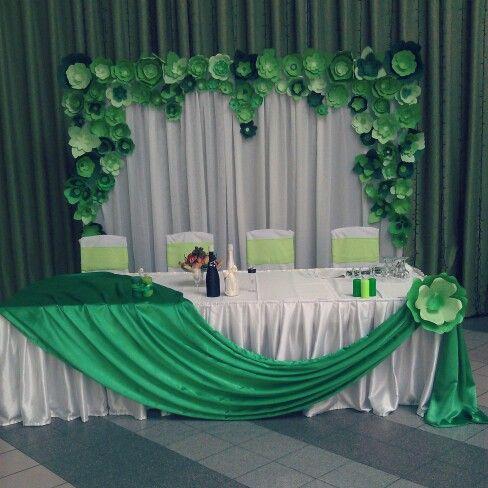 Decoración para la mesa central, ornamentacion verde