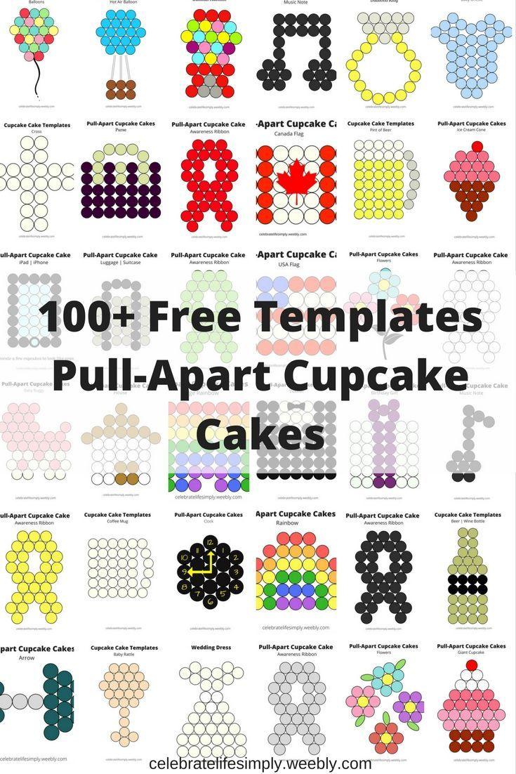 Over 100 Free Pull Apart Cupcake Cake Templates