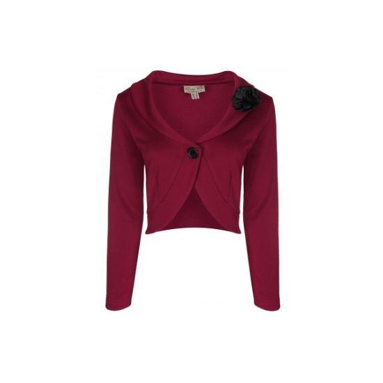 Bolero k šatům Heather Sassy Chic Krásné bolerko ve vínové barvě - jako doplněk k šatům pro chladnější rána či večery nebo pro dámy, co si chtějí zakrýt ramena či paže. Vpředu na knoflík, černá ozdobná korsáž ve tvaru květiny (lze odepnout).