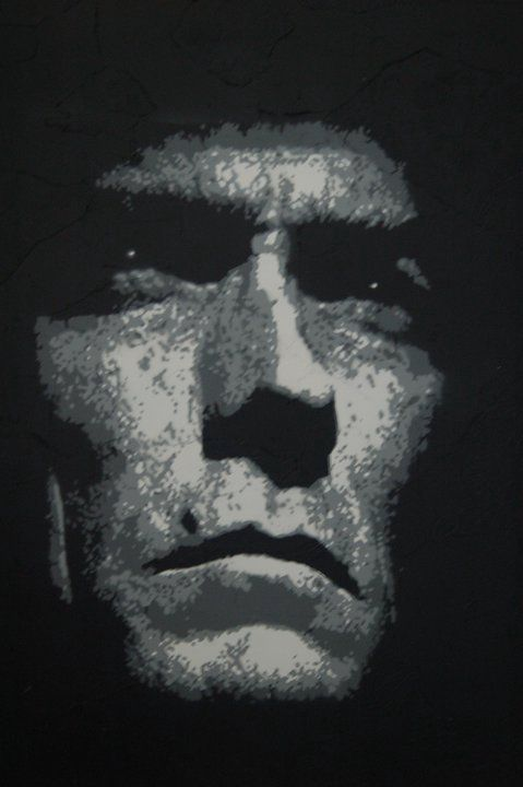Graffiti stencil, spray paint, Clint Eastwood, Actor