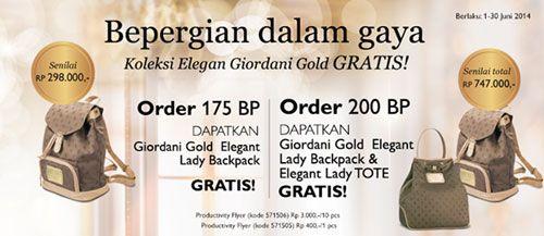 Promo Oriflame JUNI 2014. Kumpulkan 200 Bp di bulan JUNI dan Dapatkan Gratis 2 bh Tas GIORDANI GOLD senilai Rp. 747.000,- Info selengkapnya: Pin. 32747ab0