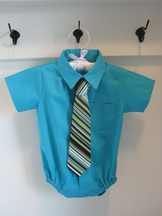 Baby Boy Dress Shirt Onesie Bodysuit by JujuBelleDesigns, $35.00