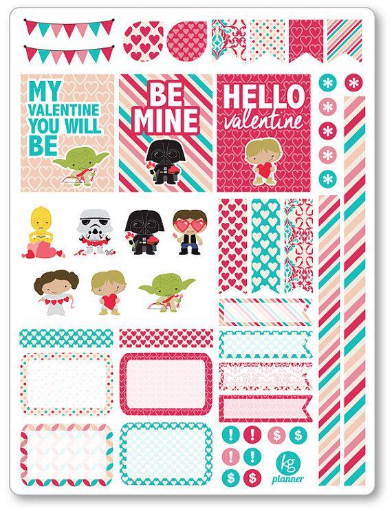 Valentine Heroes Decorating Kit / Weekly Spread Planner Stickers for Erin Condren Planner, Filofax, Plum Paper