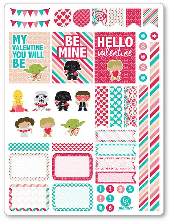 Valentine Heroes Decorating Kit / Weekly Spread Planner Stickers for Erin Condren Planner, Filofax, Plum Paper