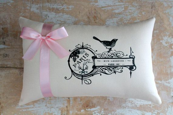 French Country Pillow, Paris, French country Home, French Decor, Bird Pillow, Cottage Decor