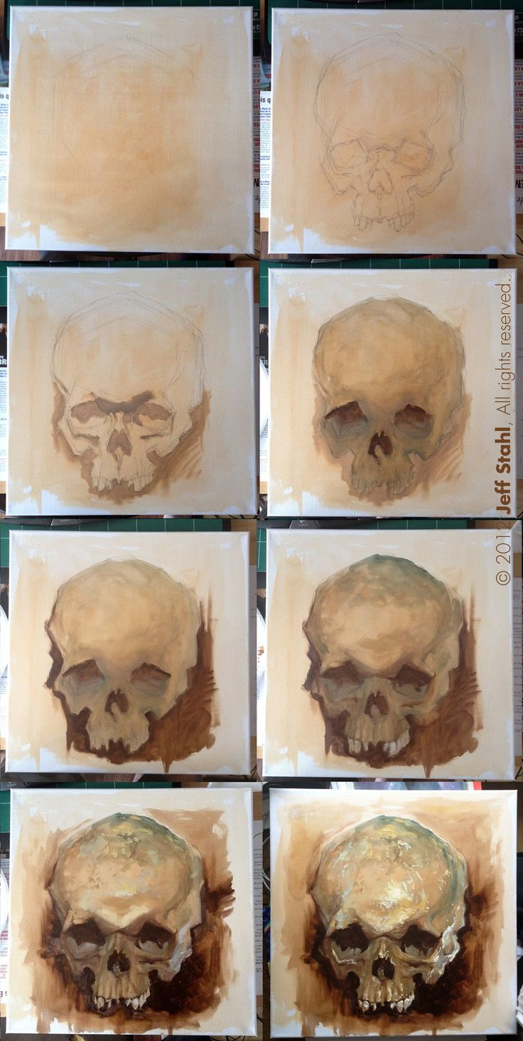Skull study, step by step by JeffStahl.deviantart.com on @DeviantArt