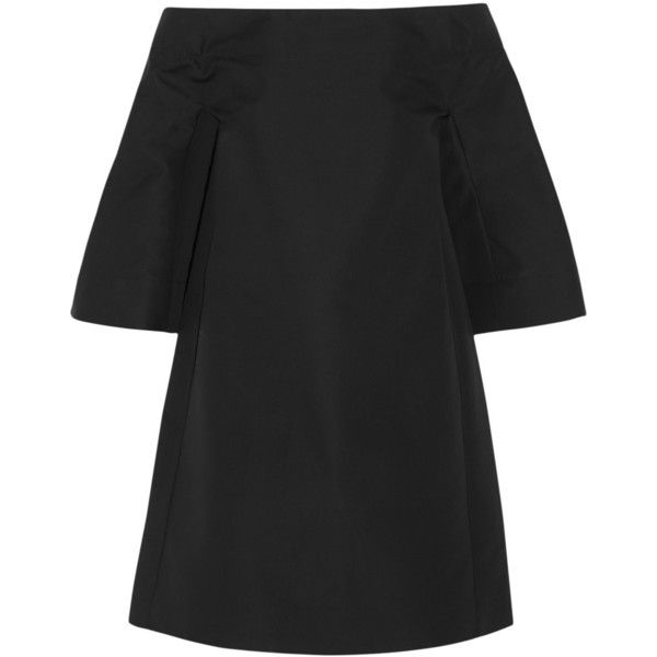 Marni Cotton-twill mini dress (£630) ❤ liked on Polyvore featuring dresses, marni dress, bandeau tops, black bandeau top, kohl dresses and black embellished dress