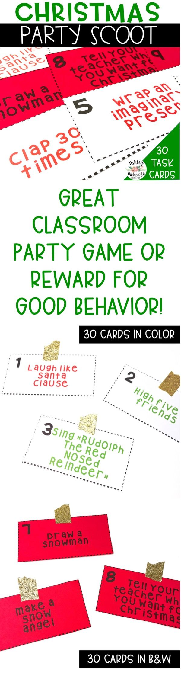 Classroom Christmas Party Scoot Game! Great reward for good behavior or for your classroom Christmas party!