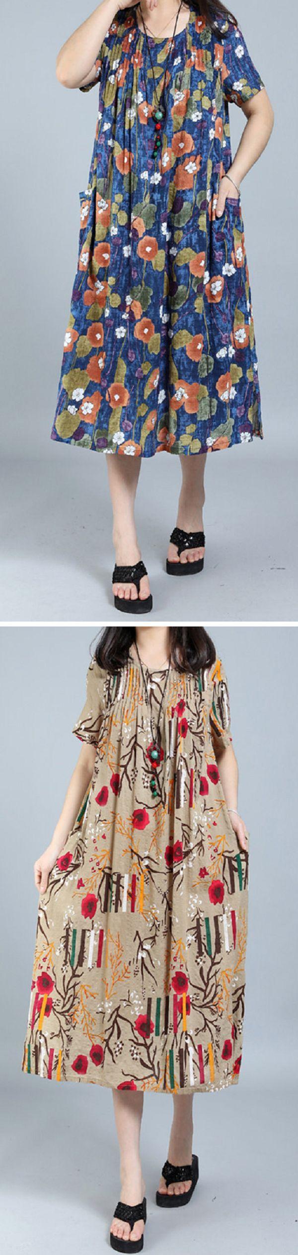 US$ 21.71 O-NEWE Printed O-Neck Short Sleeve Ruffled Pockets Dress For Women