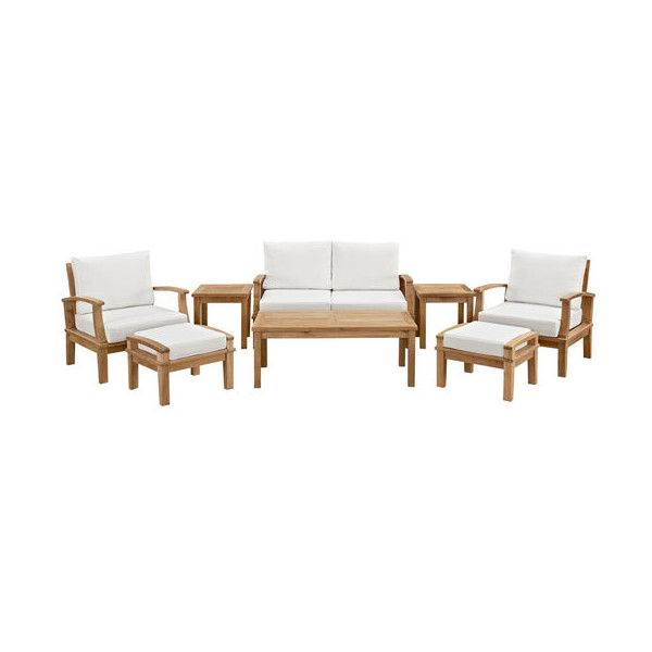 Modway Furniture Marina 8 Piece Outdoor Patio Teak Sofa Set in Natural... ($2,616) ❤ liked on Polyvore featuring home, outdoors, patio furniture, teak outdoor garden furniture, antique white end tables, outdoor furniture, teak end table and all weather patio furniture