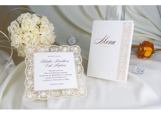 Nádherné krajkovém svatební oznámení ve stylu vintage.