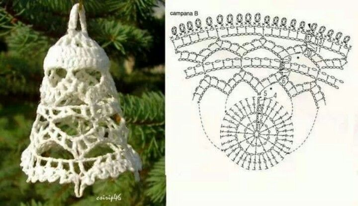 Crocheted bell with graph