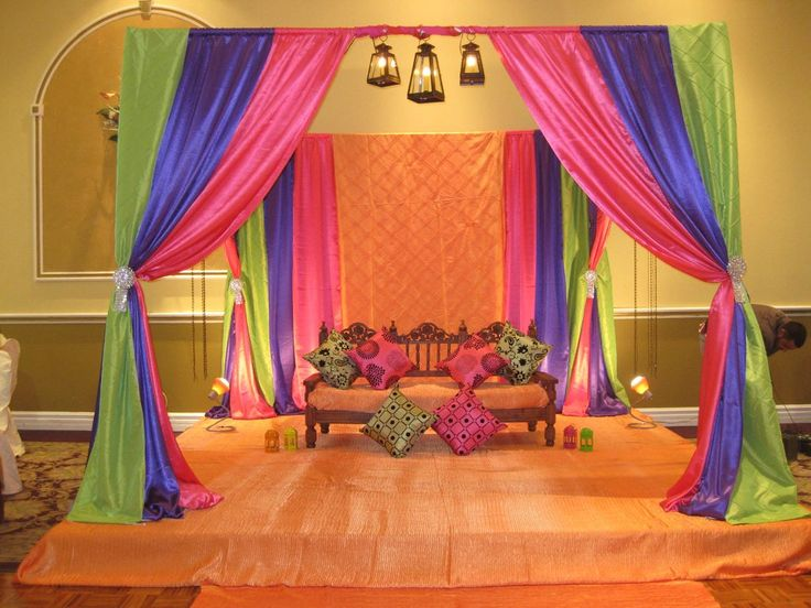 Mehndi Function Decoration Ideas At Home : Home mehndi stage and decorations on pinterest