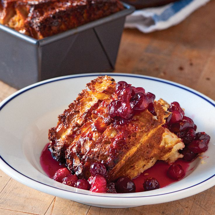 """This bread pudding is a delicious (and beautiful) way to use a week-old loaf. The crowning glory is the sweet-tart cranberry-and-maple compote. Recipe and image reprinted with permission from """"Tartine Bread,"""" by Chad Robertson, with photographs by Eric Wolfinger."""