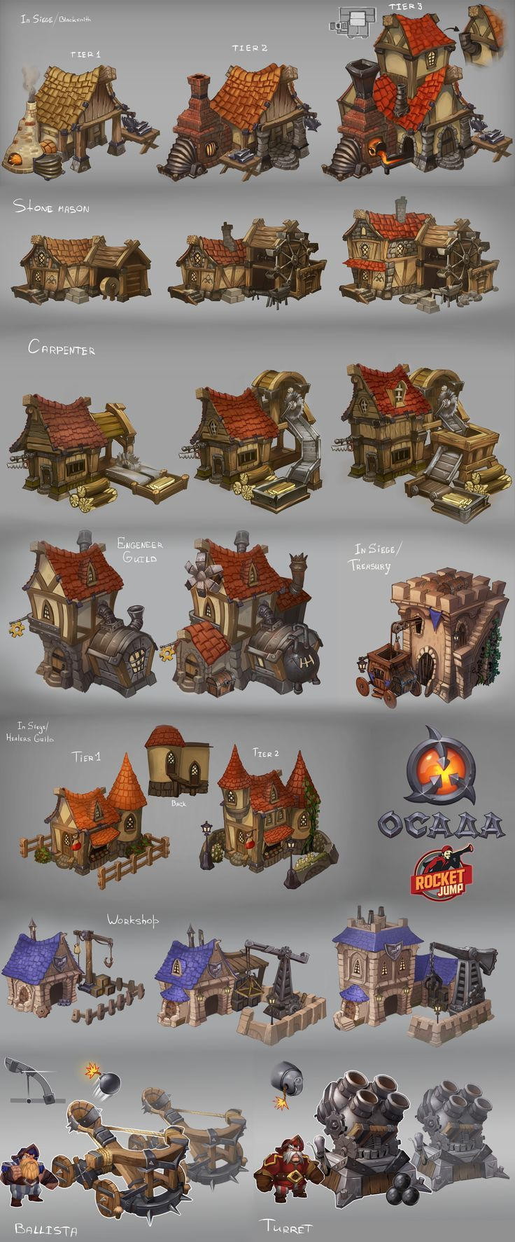 Siege - buildings by Larbesta game user interface gui ui | NOT OUR ART - Please click artwork for source | WRITING INSPIRATION for Dungeons and Dragons DND Pathfinder PFRPG Warhammer 40k Star Wars Shadowrun Call of Cthulhu and other d20 roleplaying fantasy science fiction scifi horror location equipment monster character game design | Create your own RPG Books w/ www.rpgbard.com: