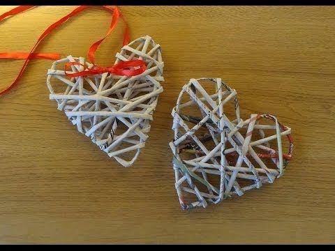 Papierowa wiklina - serce (wicker paper) - YouTube