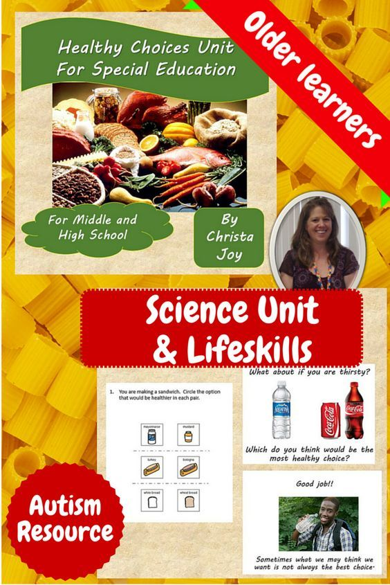 Healthy Choices Unit for Special Education, especially autism.  This unit has over 50 pages of material specifically designed for students with special learning needs in middle and high school students as they are faced with making decisions on their own. Healthy foods and activities are addressed. An important skill for our older population of students in a life skills setting!  $ Download at:  https://www.teacherspayteachers.com/Product/Healthy-Choices-Unit-for-Special-Education-2106456