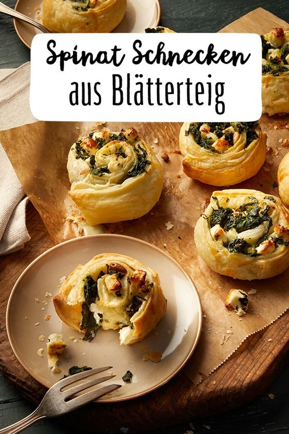 Puff pastry spinach and feta snails   – Vegetarisch Kochen