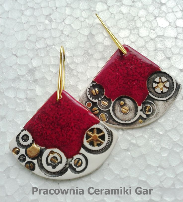 porcelain earrings, steampunk jewerly, handmade jewerelly,