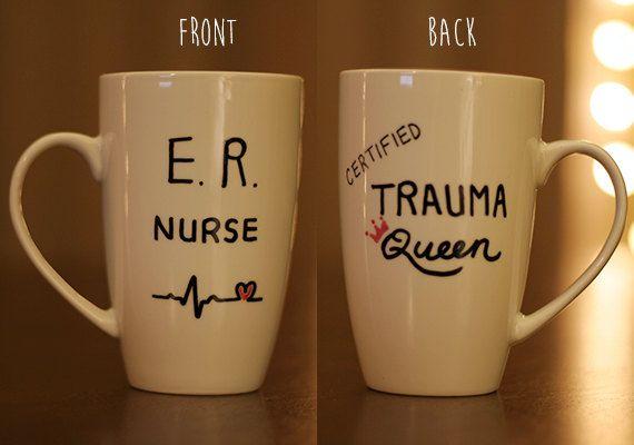 ER Nurse Trauma Queen hand-painted mug by mymugshop on Etsy