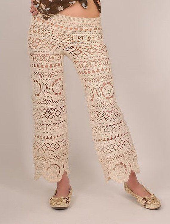 d0cfbd83926f6 70s lace trousers vintage look Boho ladies capri pants hippie 7/8 trousers  romance beach trousers midi Crochet Lace party pattern mix pants cotton s M