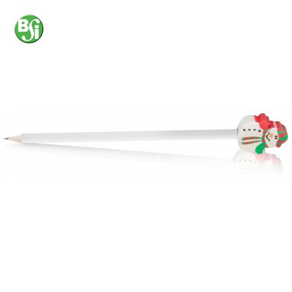 Matita in legno con gomma a forma di pupazzo di natale, consegnata affilata, mina HB.  #matita #pupazzodineve #pencil #gadgetpersonalizzati #natale #gadget #gift #christmas #regalo #omaggio #articolopromozionale