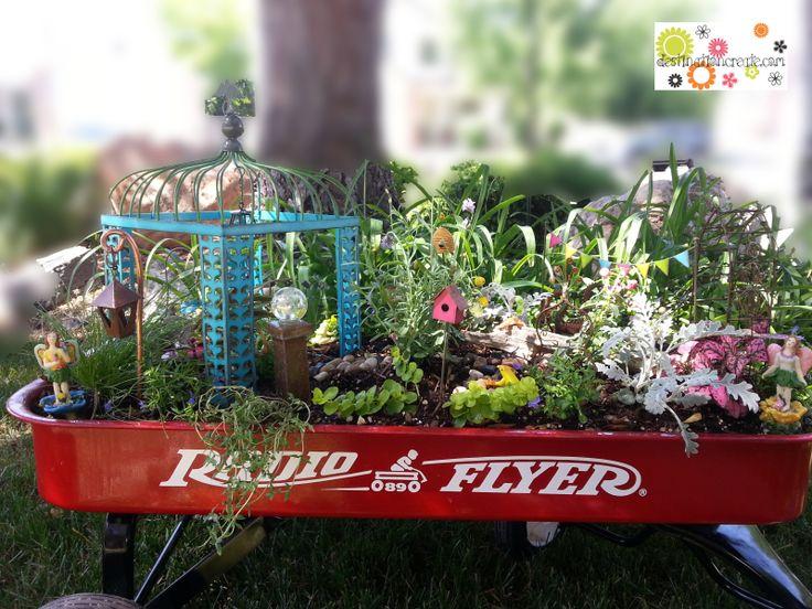 Fairy Garden In Little Red Wagon With Gypsy Garden