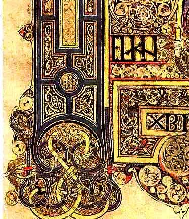 detail--Book of Kells miniature - Ireland's greatest treasure created about 800 CE - calligraphy illumination medieval monks