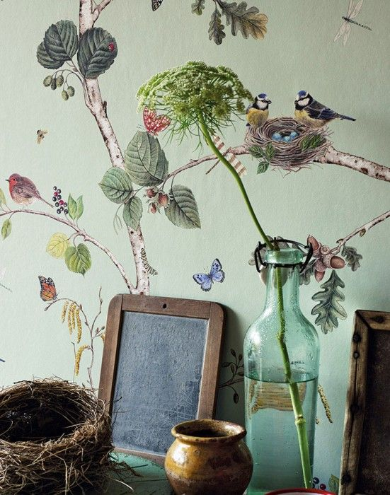 $78.82 Price per roll (per m2 $15.07), Romantic wallpaper, Carrier material: Non-woven wallpaper, Surface: Smooth, Look: Matt, Design: Bees, Butterflies, Birds, Branches with leaves and fruit, Basic colour: Pale pastel green, Pattern colour: Shades of blue, Brown tones, Yellow, Shades of green, Red, Characteristics: Good lightfastness, Low flammability, Strippable, Paste the wall, Wash-resistant