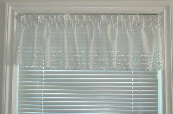 Custom White Batiste Eyelet Valance Panel, Lace Curtain, Country Chic, Cottage Curtain, Country Curtains by PhancyBitsnpieces on Etsy