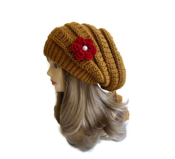 Mustard Womens Beret Hat tricot and crochet by likeknitting