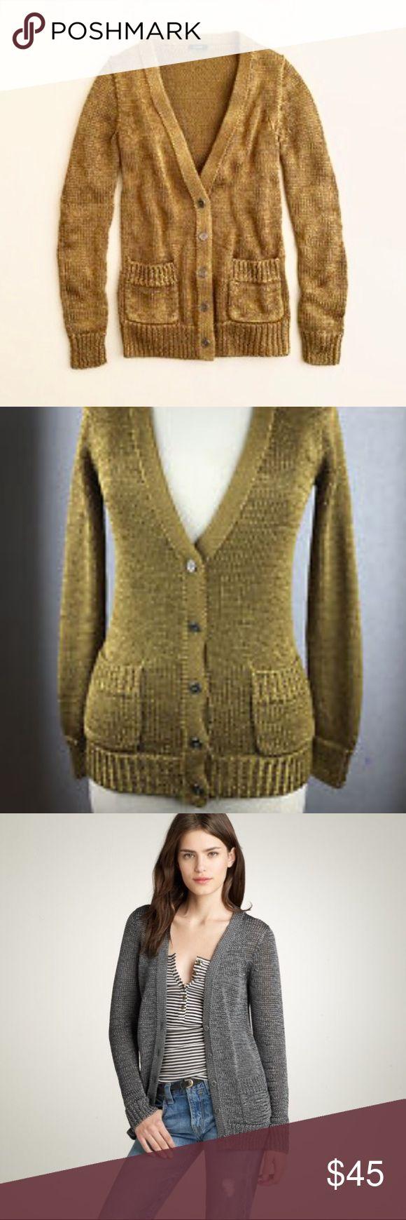 J. CREW ORALIE KNIT METALLIC GOLD CARDIGAN Heavy knit, metallic dark gold, EUC, no issues J. Crew Sweaters Cardigans