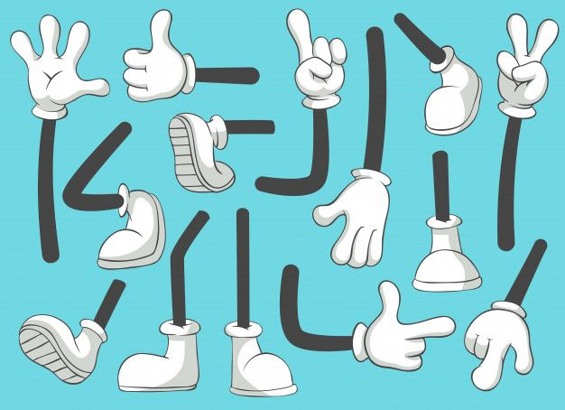 Cartoon Legs And Hands Leg In Boots And Gloved Hand Comic Feet In Shoes Glove Arm Isolated Set Cartoon Legs Cartoon Styles Cartoon Gloves