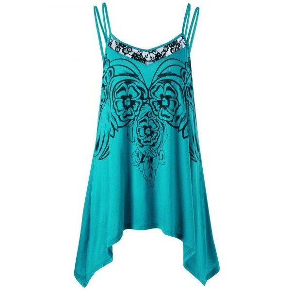 Plus Size Asymmetric Cami Tunic Top Blue Xl ($12) ❤ liked on Polyvore featuring tops, tunics, plus size cami tops, asymmetrical tops, women's plus size tops, cami tunic and womens plus size tunics