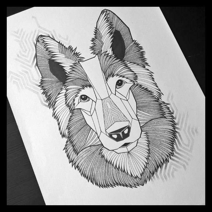 Rina-illustration Portfolio : GEOMETRIE page facebook https://www.facebook.com/Rina.illustration/ dog, chien, illustration, berger allemand, dessin, géométrie, nature, animal, pattern, motif, noir et blanc, noir et gris, tattoo, idéé, flash, tatouage