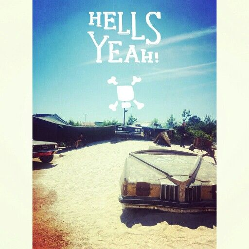 L'espace presse vip du #Hellfest avec sa déco post apo désertique et ses vieilles carcasses de voitures