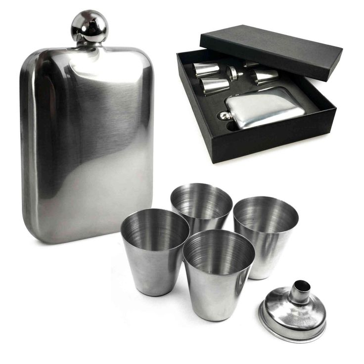 E-Volve Personalised Hip Flask 6 Oz & 4 Cups Gift Set Stainless Steel -Silver