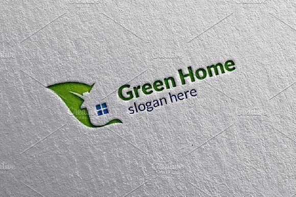 Green Home,Leaf Real estate Logo by denayunebgt on @creativemarket