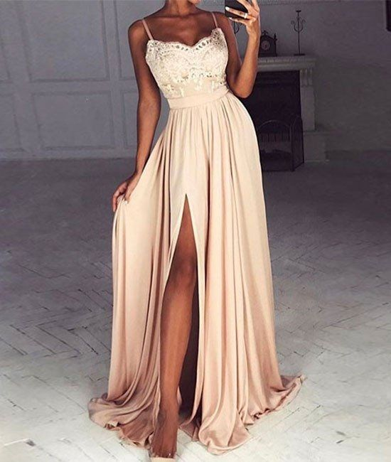Sweetheart Lace Long Prom Dress, Formal Dress, Sexy Slit Prom Dress, Woman Dress, Chiffon Prom Dress, Charming Evening Dresses,Chic Appliques Prom Dress 2017,Prom Dresses