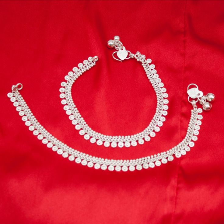 Indian Pakistani Ethnic Silver Tone Payal Anklet Pair Curved Edge and Soft Bells Dance Jewelry