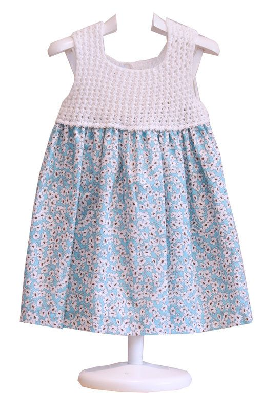 16 best Vestidos crochet y tela para niñas images on Pinterest ...