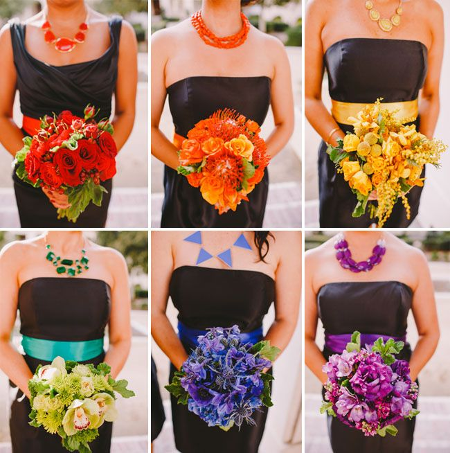 Whimsical Rainbow Wedding: where the bridesmaids wore black and each carried a different color. All the groomsmen wore a different color tux.