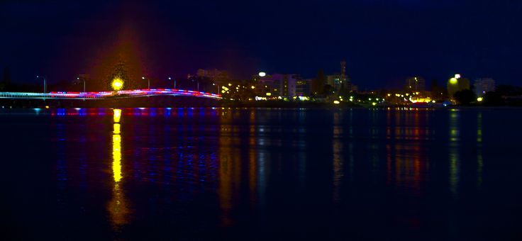 Tuncurry NSW looking out over the water to Forster. Ambulance time-lapse shot.