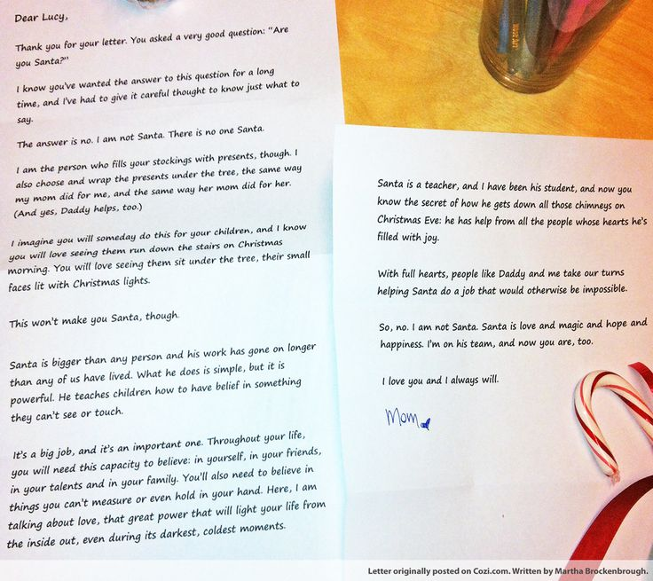 If your kids are asking whether you are actually the one putting gifts under the tree, here's one mom's beautiful response. It's a tear-jerker, and a keeper. Full story here: http://www.cozi.com/live-simply/truth-about-santa